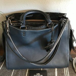 COACH Rogue 30 Dark Denim Glovetanned Pebbled BAG